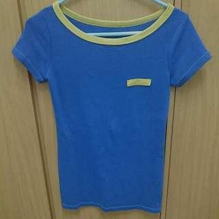 藍色假口袋短T