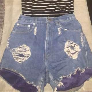 High Waisted Denim Shorts Size 8/10