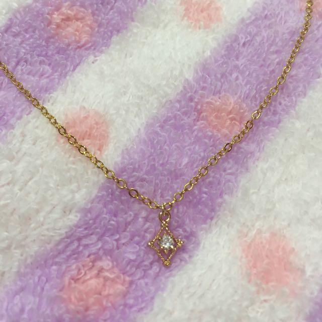 輕珠寶 美國14K包K金菱形鋯石項鍊