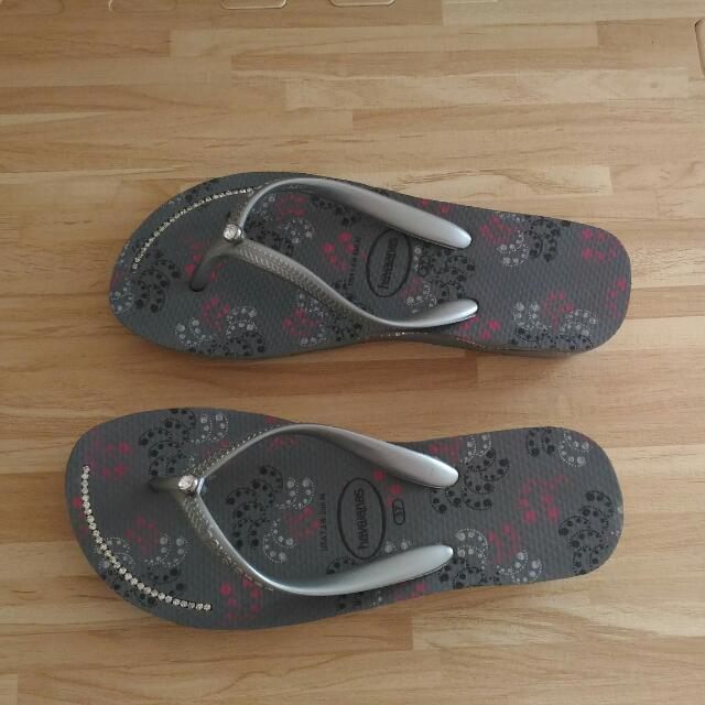 havaianas 天然巴西橡膠鞋 (灰色厚底+鑽)