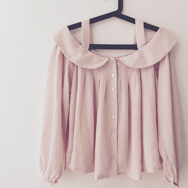 雪紡一字領上衣 粉色