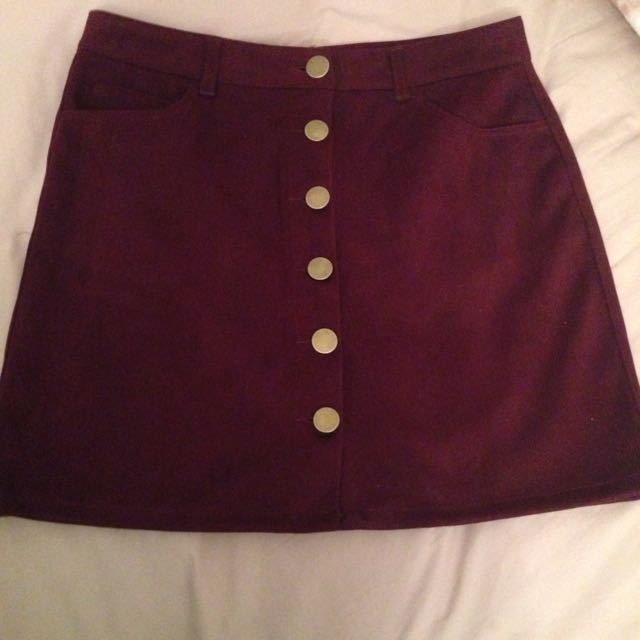 Boohoo Burgundy Suede Button Up Skirt
