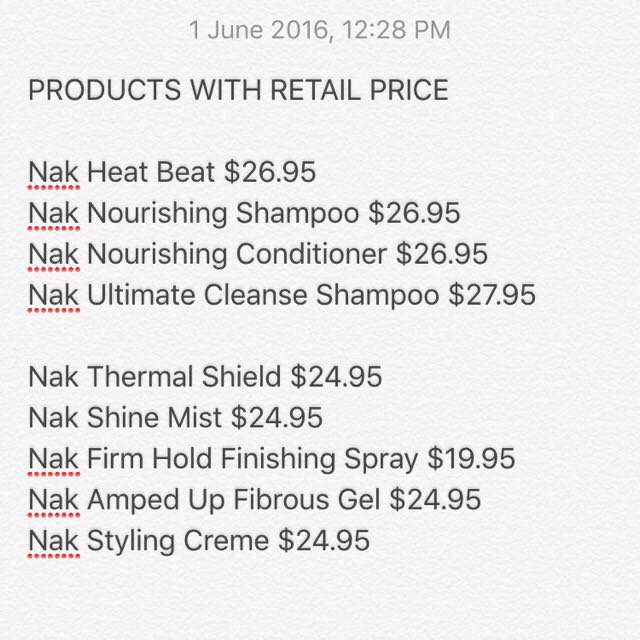 CHEAP Nak Haircare Products