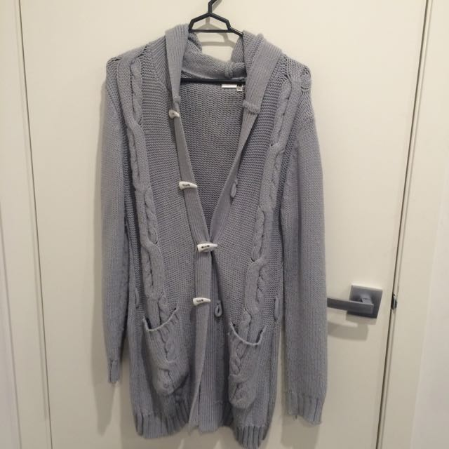 Grey Cable-knit Hooded Cardigan