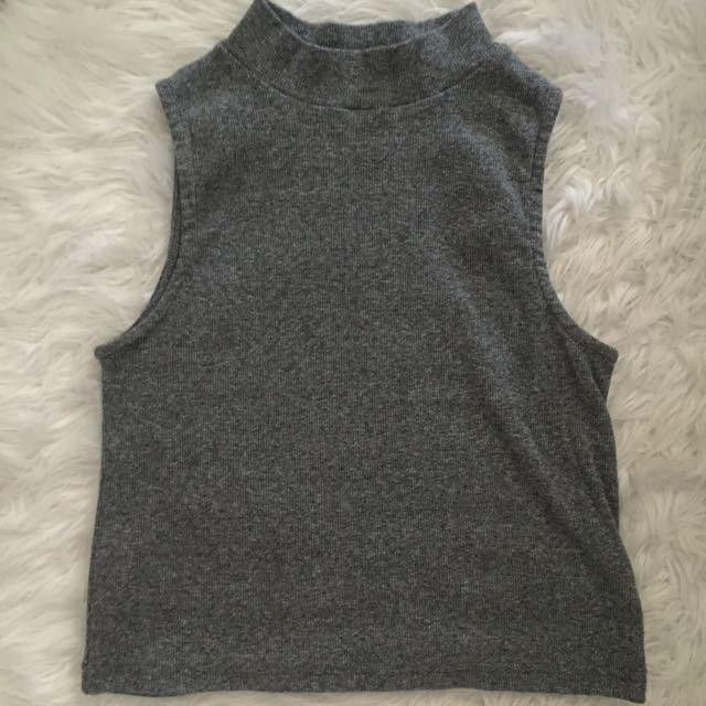 Grey Turtle Neck Crop Top