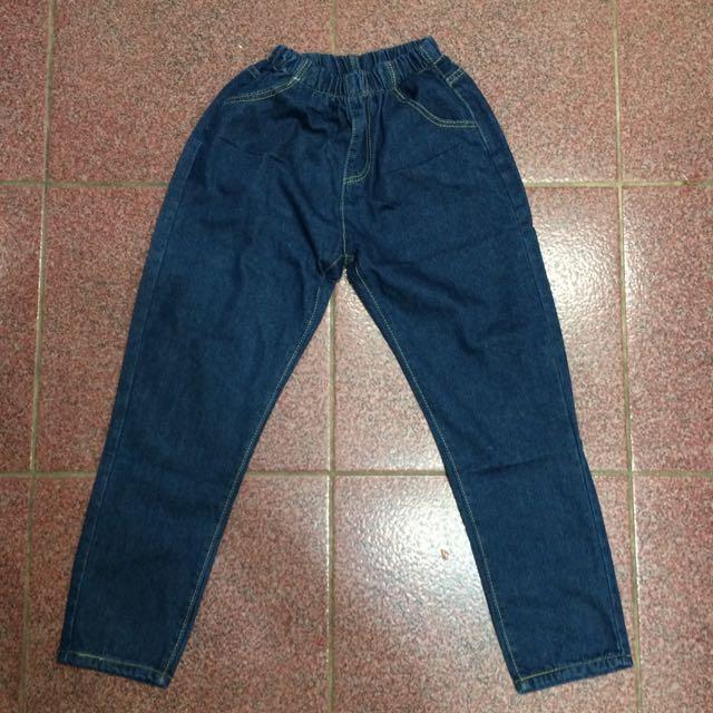 高腰牛仔寬鬆哈倫褲(L)