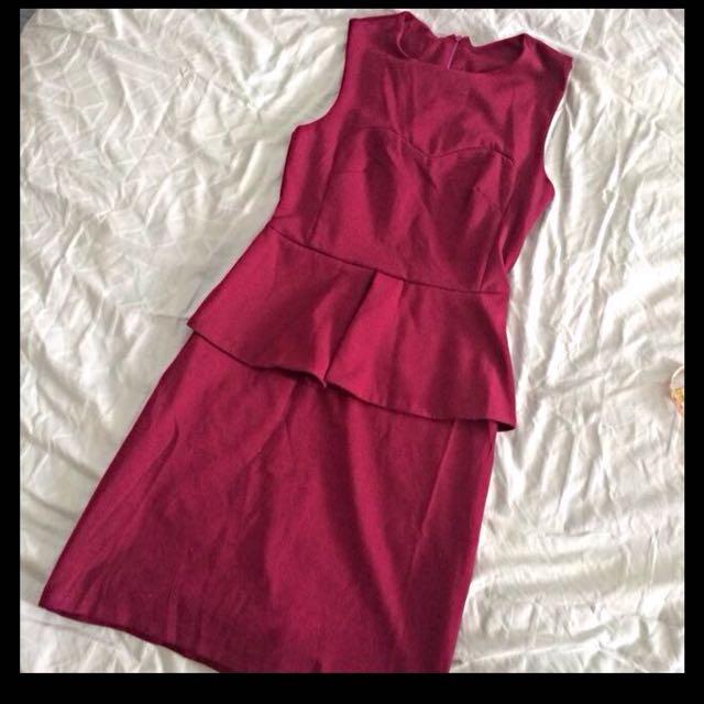 Maroon Peplum Dress (Thick Material)