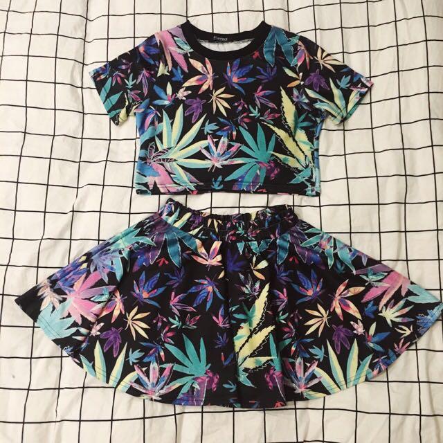 neon weed crop&skirt set