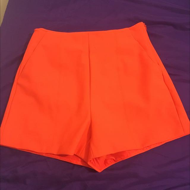 Orange Kookai Highwaisted Shorts