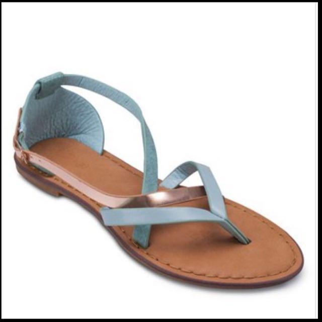 Rubi Port Sandals TIffany Blue & Gold