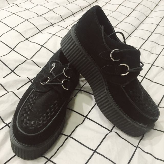 suede black creepers