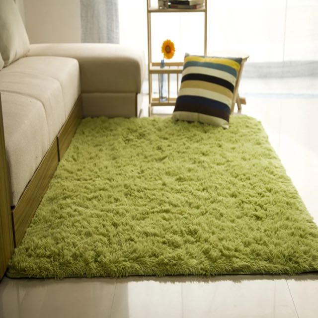 Mocha Green Thick And Furry Carpet Rug, Furniture, Home