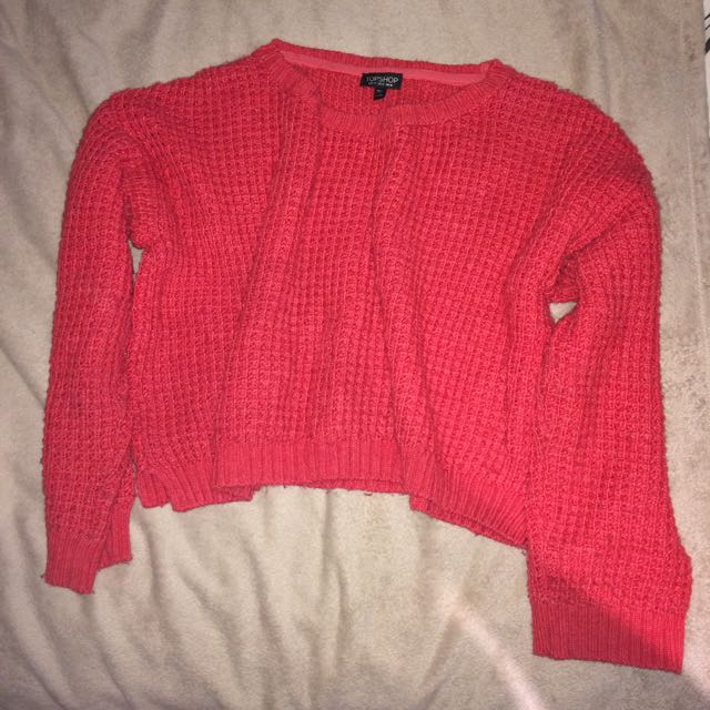 Topshop Red Knit Top