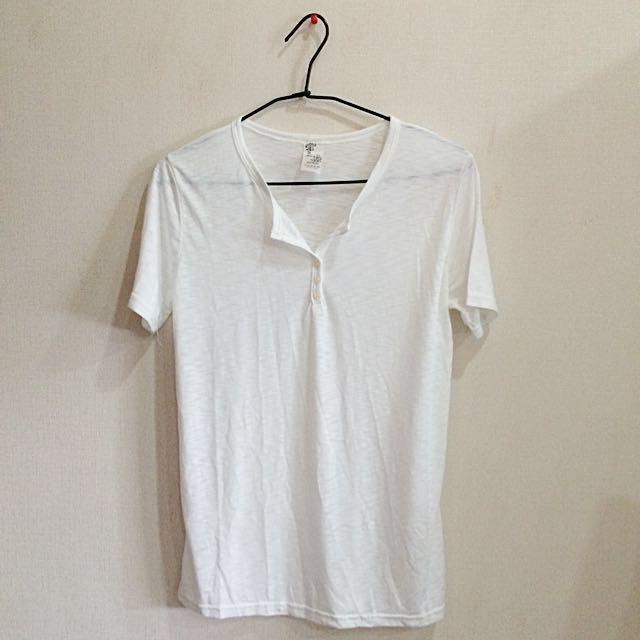 微透V領白T-shirt