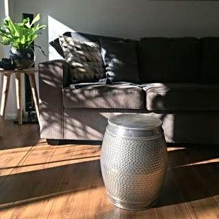 Silver Aluminium Stool Side Table Plant Pot