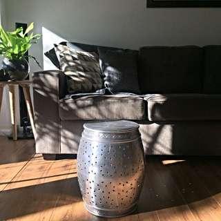 Silver Aluminium Stool Side Table