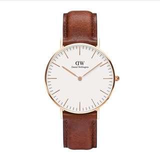 (保留中)DW手錶36mm棕色(全新)