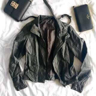 Padini Grey Faux Leather Jacket