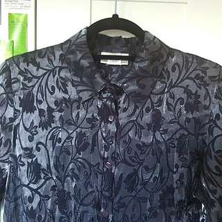 Iridescent Metallic Silver Floral Vintage Shirt