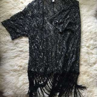 Forever 21 Black and Gold Lace Kimono - Size XS