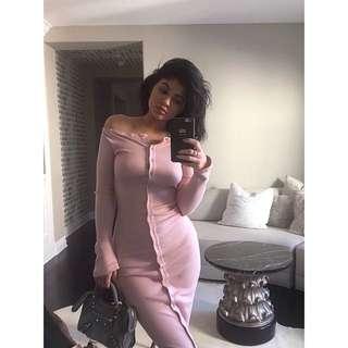Kylie Jenner pink off the shoulder midi dress