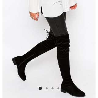 Public desire joy flat over the knee faux suede boots