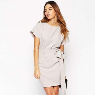 ASOS TALL Pencil Dress with Wrap Skirt and Obi Belt