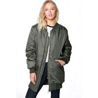 Longline oversized khaki bomber jacket