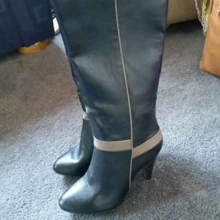 Black Faux Leather Heeled Long Boot Size 6