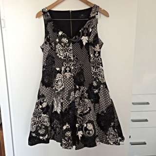 Cue Black & White Cocktail Dress