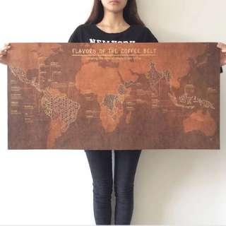 復古咖啡豆種植分布圖海報