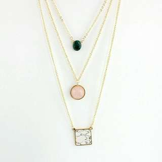 Three-tier Necklace With Marble & GEMSTONE-BRAND NEW