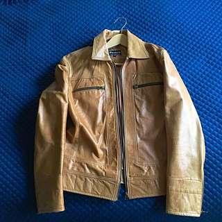 Politix Tan Leather Biker Jacket 🚫NO PICKUPS🚫