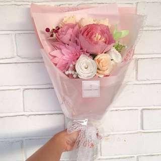 Mix Bouquet (Wild Dahlia, Peony, Gardenia, Roses, Carnations, Cherry & Baby's Breath)