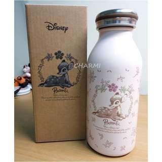 ✧查米✧日本原裝 MOSH牛奶瓶造型保溫瓶 迪士尼小鹿斑比聯名限定款 淺粉紅 雙層真空設計350ml