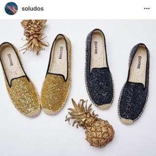 美國代購 Soludos 閃亮金色亮片厚底增高平底草編鞋 零碼 尺碼 US6/US7 現貨各一