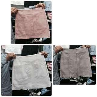 正韓雙口袋挺裙粉色S號