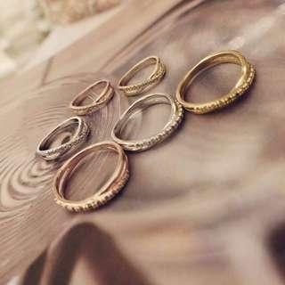 正韓 韓國空運 細緻 鋯石 鏤空 交叉 排鑽 戒指 玫瑰金 金 銀 3色 戒指 尾戒