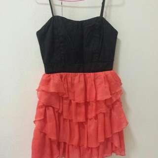 Black N Orange Dress Size 8