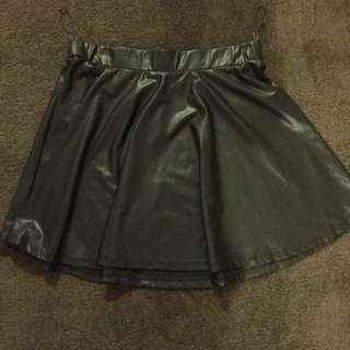 Plastic Leather Skirt