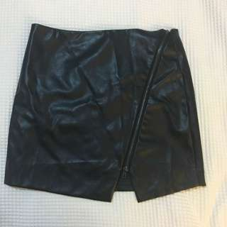 Black Leather Skirt - XS