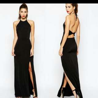 halther neck long sexy black dress