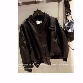 INSTOCK Black PU Leather Baseball Jacket