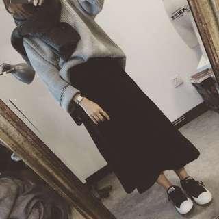 A-Line woolen black long skirt