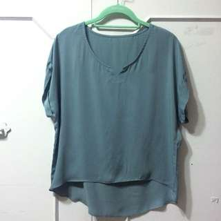 STARMIMI自訂款-藍綠色霧光絲緞上衣