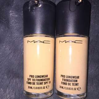 2 X MAC Pro Longwear Foundation NC20