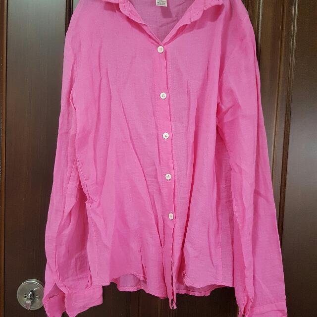 亮桃粉色棉麻襯衫