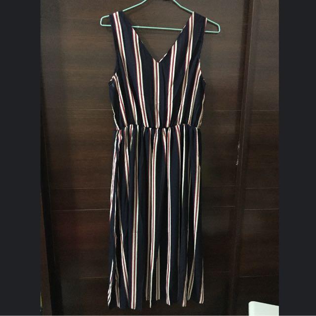 全新 直條紋長洋裙