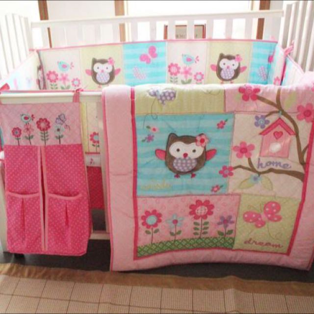 Baby Bedding Crib Cot Sets - Cute Owl Theme  (7-Piece)