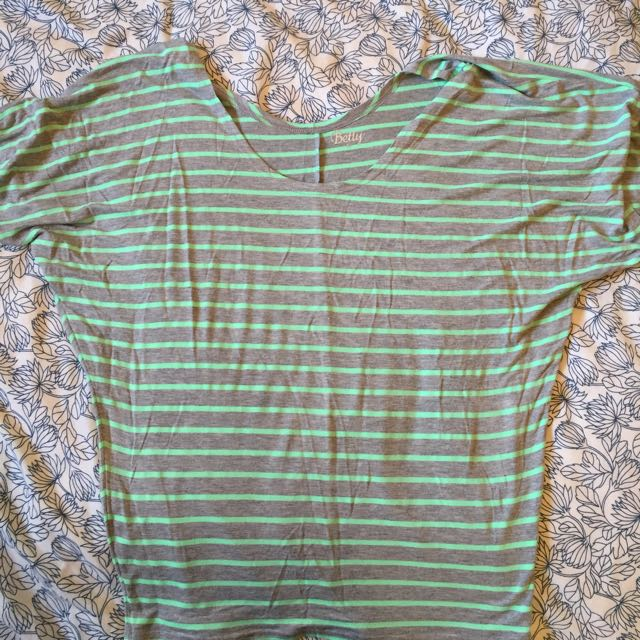 Betty Basics Green And Grey Stripped Top